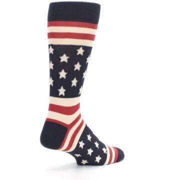 Image of Rustic Red Navy American Flag Men's Dress Socks (side-1-back-22)