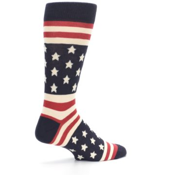 Image of Rustic Red Navy American Flag Men's Dress Socks (side-1-23)