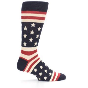 Image of Rustic Red Navy American Flag Men's Dress Socks (side-1-24)