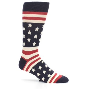 Image of Rustic Red Navy American Flag Men's Dress Socks (side-1-25)