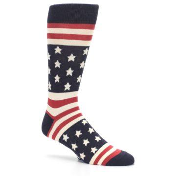 Image of Rustic Red Navy American Flag Men's Dress Socks (side-1-26)