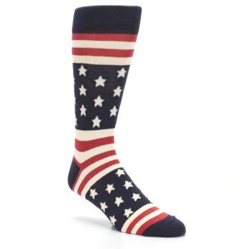 Image of Rustic Red Navy American Flag Men's Dress Socks (side-1-27)