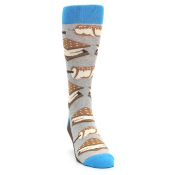 Image of Gray Brown Marshmallow Smores Men's Dress Socks (side-1-front-03)