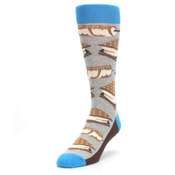 Image of Gray Brown Marshmallow Smores Men's Dress Socks (side-2-front-07)