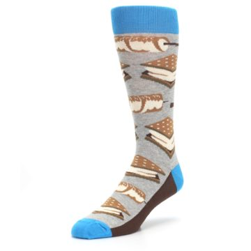 Image of Gray Brown Marshmallow Smores Men's Dress Socks (side-2-front-08)