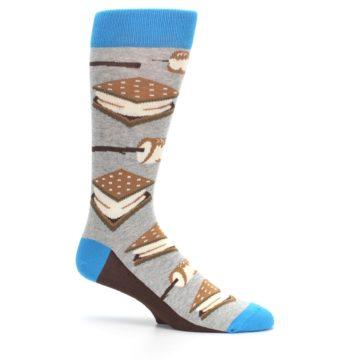 Image of Gray Brown Marshmallow Smores Men's Dress Socks (side-1-25)