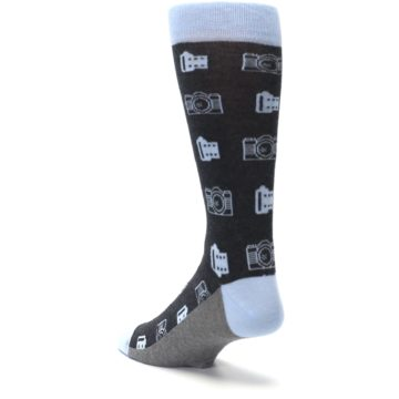 Image of Blue Gray Photography Film Cameras Men's Dress Socks (side-2-back-15)