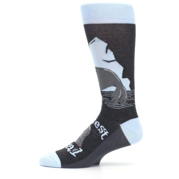 Image of Gray Blue Sealiest Seal Men's Dress Socks (side-2-11)