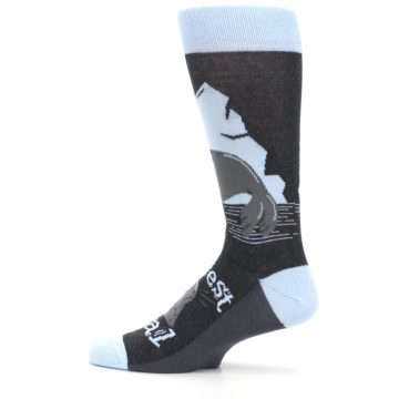 Image of Gray Blue Sealiest Seal Men's Dress Socks (side-2-12)