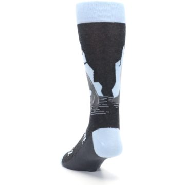Image of Gray Blue Sealiest Seal Men's Dress Socks (side-2-back-16)