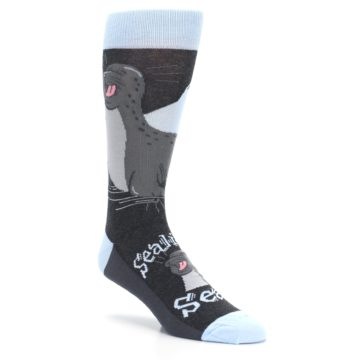 Image of Gray Blue Sealiest Seal Men's Dress Socks (side-1-27)