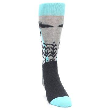 Image of Gray Aqua UFO Alien Abduction Men's Dress Socks (side-1-front-03)