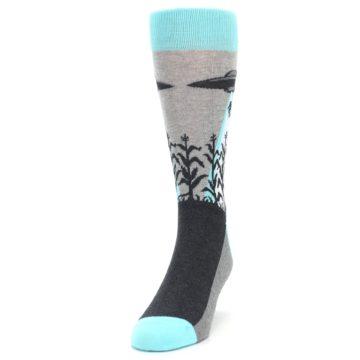 Image of Gray Aqua UFO Alien Abduction Men's Dress Socks (side-2-front-06)