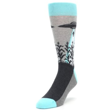 Image of Gray Aqua UFO Alien Abduction Men's Dress Socks (side-2-front-07)