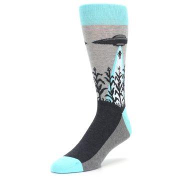 Image of Gray Aqua UFO Alien Abduction Men's Dress Socks (side-2-front-08)