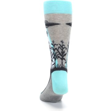 Image of Gray Aqua UFO Alien Abduction Men's Dress Socks (back-17)