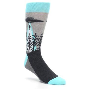Image of Gray Aqua UFO Alien Abduction Men's Dress Socks (side-1-27)