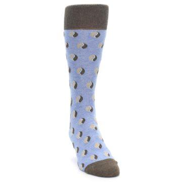 Image of Light Blue Brown Coffee Bean Men's Dress Socks (side-1-front-03)
