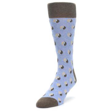 Image of Light Blue Brown Coffee Bean Men's Dress Socks (side-2-front-07)
