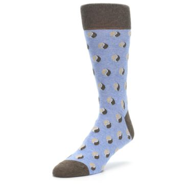 Image of Light Blue Brown Coffee Bean Men's Dress Socks (side-2-front-08)