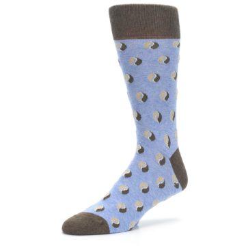 Image of Light Blue Brown Coffee Bean Men's Dress Socks (side-2-09)