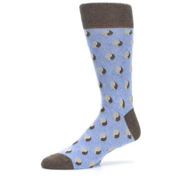 Image of Light Blue Brown Coffee Bean Men's Dress Socks (side-2-10)