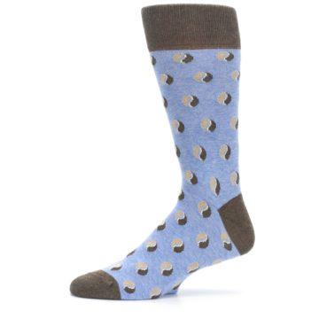Image of Light Blue Brown Coffee Bean Men's Dress Socks (side-2-11)