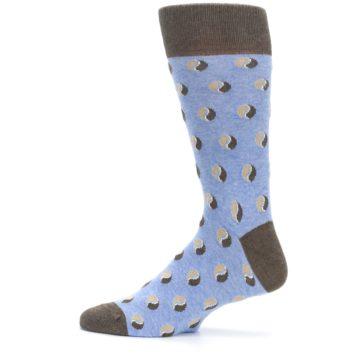Image of Light Blue Brown Coffee Bean Men's Dress Socks (side-2-12)