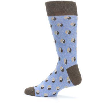 Image of Light Blue Brown Coffee Bean Men's Dress Socks (side-2-13)