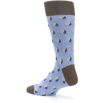 Image of Light Blue Brown Coffee Bean Men's Dress Socks (side-2-back-14)
