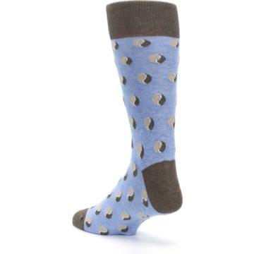 Image of Light Blue Brown Coffee Bean Men's Dress Socks (side-2-back-15)