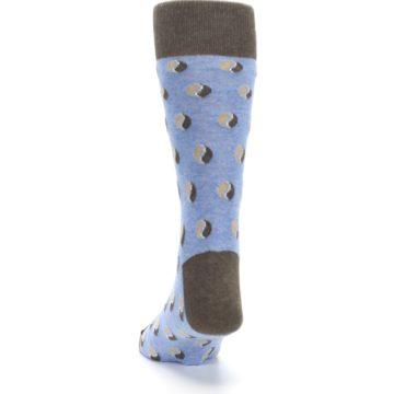 Image of Light Blue Brown Coffee Bean Men's Dress Socks (back-17)