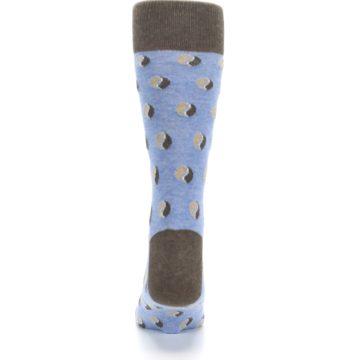 Image of Light Blue Brown Coffee Bean Men's Dress Socks (back-18)