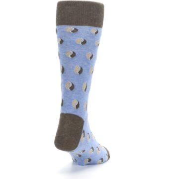 Image of Light Blue Brown Coffee Bean Men's Dress Socks (side-1-back-20)