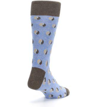 Image of Light Blue Brown Coffee Bean Men's Dress Socks (side-1-back-21)