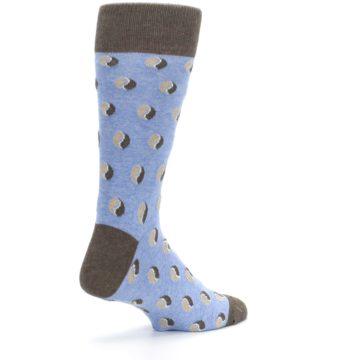 Image of Light Blue Brown Coffee Bean Men's Dress Socks (side-1-back-22)