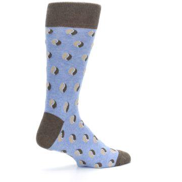 Image of Light Blue Brown Coffee Bean Men's Dress Socks (side-1-23)