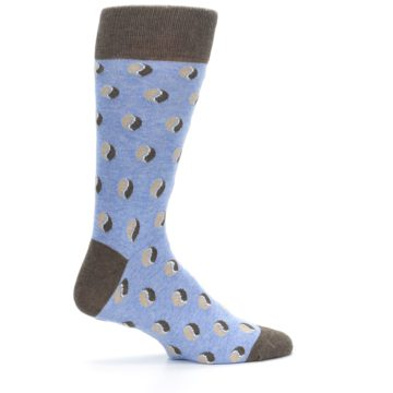 Image of Light Blue Brown Coffee Bean Men's Dress Socks (side-1-24)