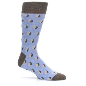 Image of Light Blue Brown Coffee Bean Men's Dress Socks (side-1-25)