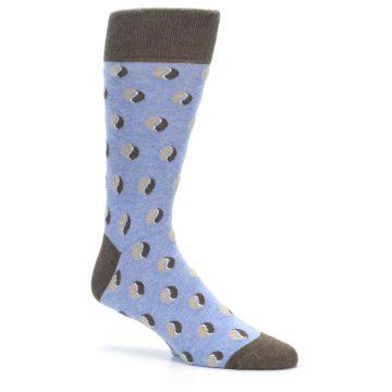 Image of Light Blue Brown Coffee Bean Men's Dress Socks (side-1-26)