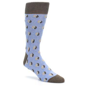 Image of Light Blue Brown Coffee Bean Men's Dress Socks (side-1-27)