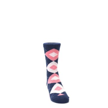 Image of Flamingo Petal Pink Navy Argyle Junior Groomsmen Kid's Dress Socks (side-1-front-03)