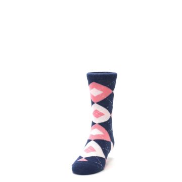 Image of Flamingo Petal Pink Navy Argyle Junior Groomsmen Kid's Dress Socks (side-2-front-06)