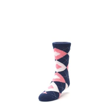 Image of Flamingo Petal Pink Navy Argyle Junior Groomsmen Kid's Dress Socks (side-2-front-07)