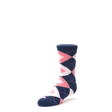 Image of Flamingo Petal Pink Navy Argyle Junior Groomsmen Kid's Dress Socks (side-2-front-08)