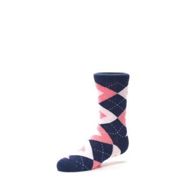 Image of Flamingo Petal Pink Navy Argyle Junior Groomsmen Kid's Dress Socks (side-2-09)