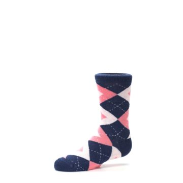 Image of Flamingo Petal Pink Navy Argyle Junior Groomsmen Kid's Dress Socks (side-2-10)