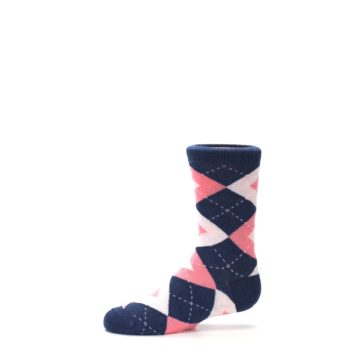 Image of Flamingo Petal Pink Navy Argyle Junior Groomsmen Kid's Dress Socks (side-2-11)