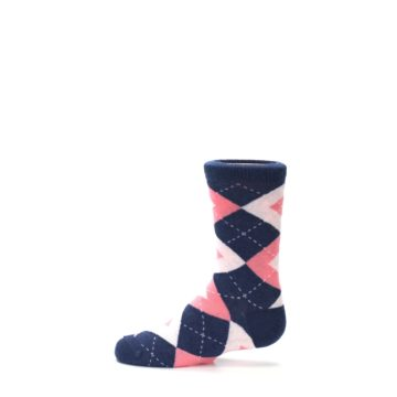 Image of Flamingo Petal Pink Navy Argyle Junior Groomsmen Kid's Dress Socks (side-2-12)