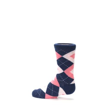 Image of Flamingo Petal Pink Navy Argyle Junior Groomsmen Kid's Dress Socks (side-2-13)